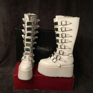 Demonia White Knee-High Platform Boots